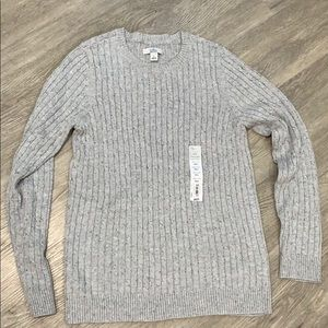 NWT Croft & Barrow Classic Cable Sweater grey